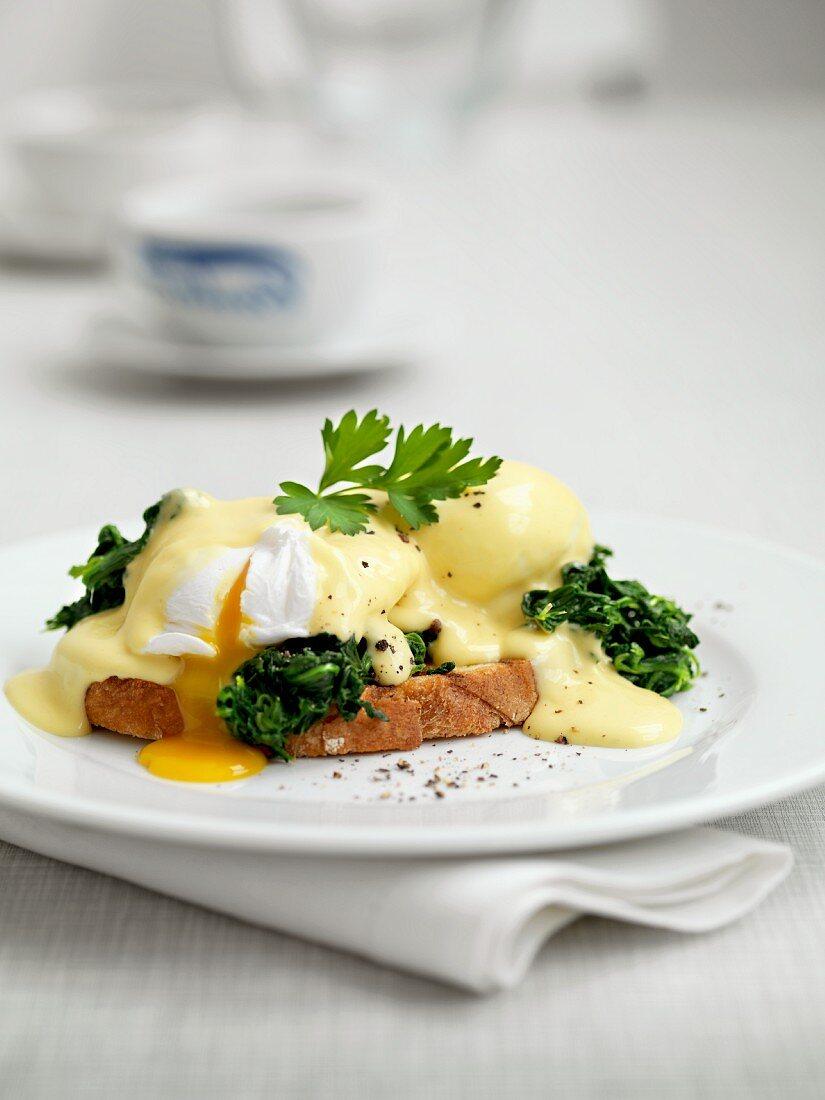 Eggs Benedict on toast