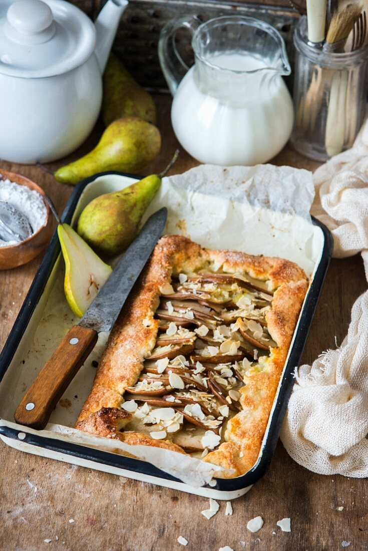 A pear pie with flaked almonds