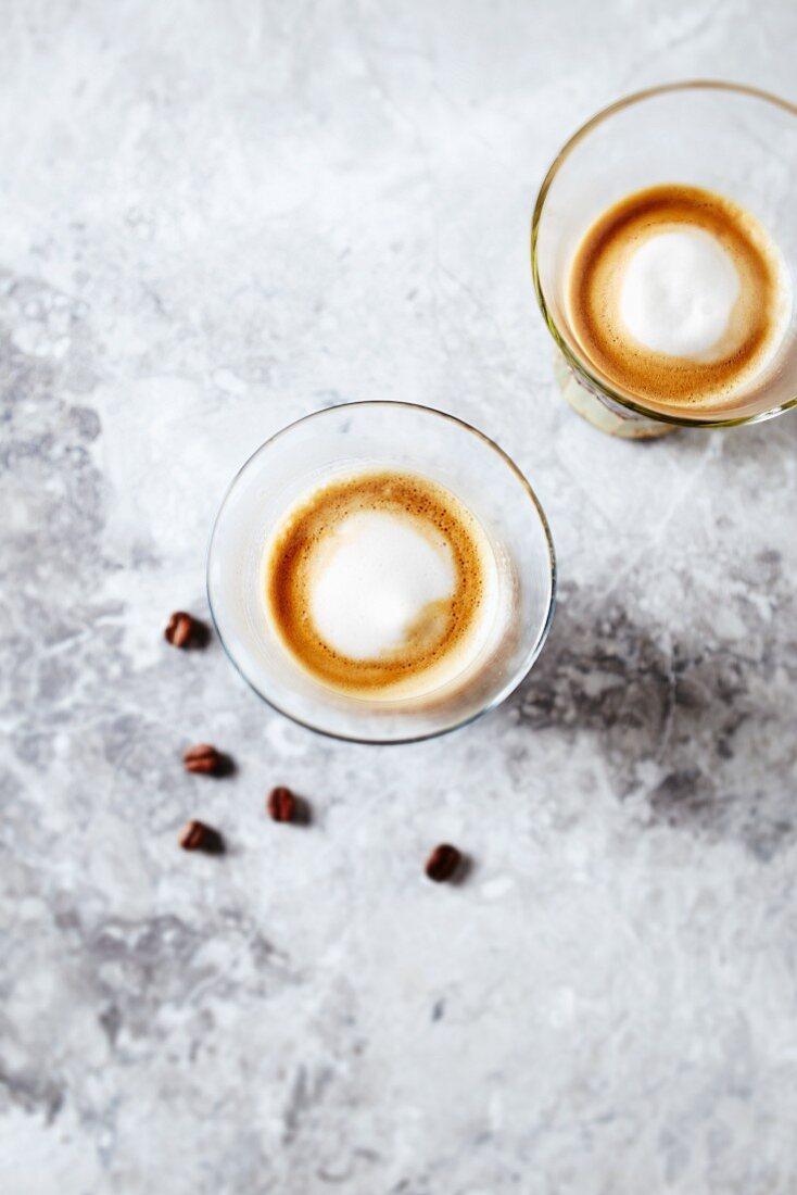 Two Glasses of Espresso Macchiato
