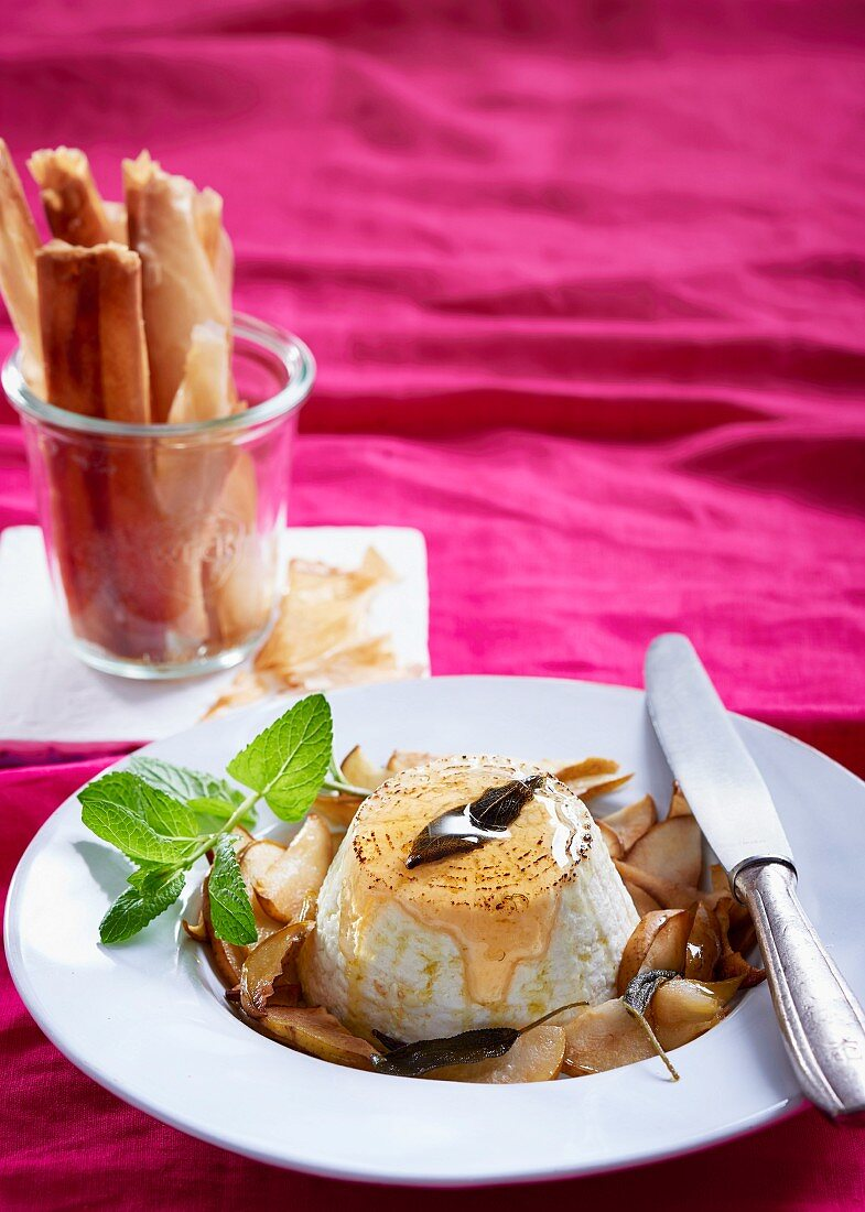 Whole baked ricotta with roasted pears, sage and filo cigars