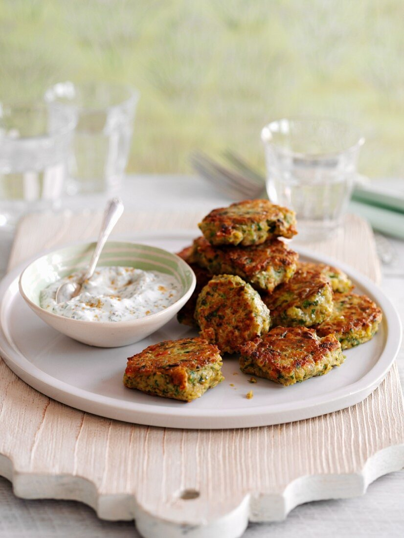 Chickpea and chilli fritters with a coriander and yoghurt dip