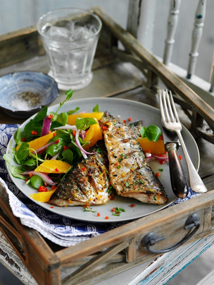 Grilled mackerel with chilli and a citrus and watercress salad