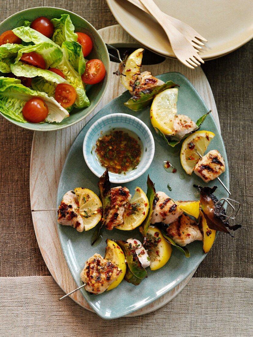 Turkey and lemon skewers with bay leaves