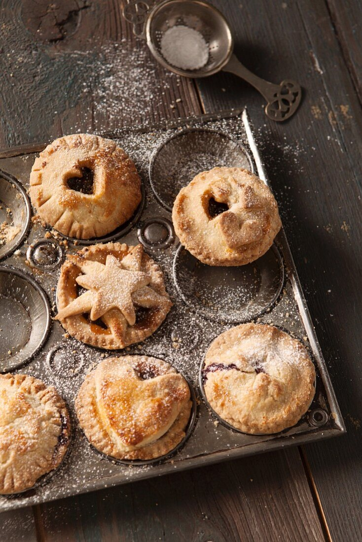 Small mince pies in a vintage baking tray