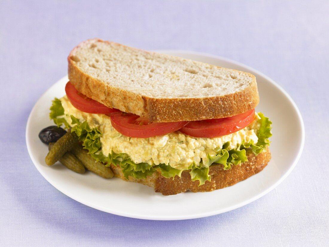 A tofu and egg salad sandwich