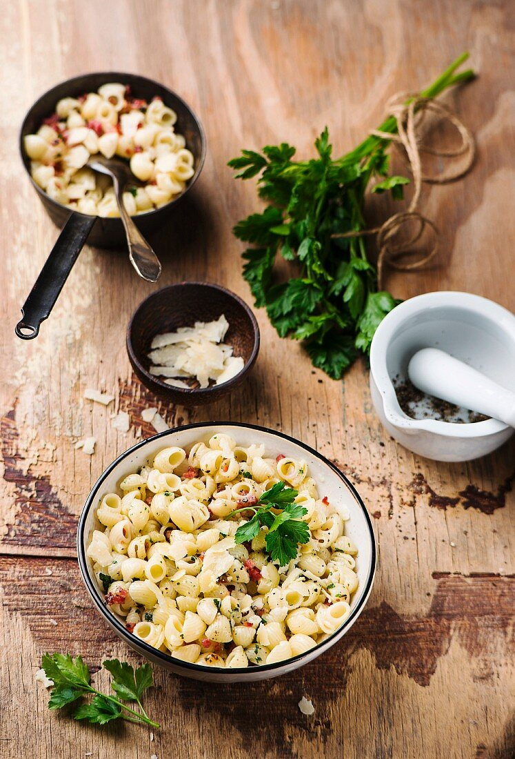 Lumachine pasta with bacon, parsley and Parmesan