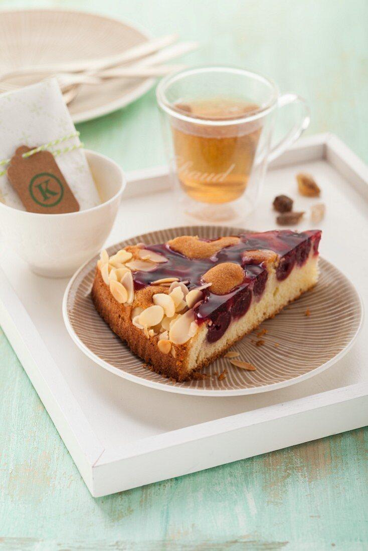 Sour cherry cake with a glaze