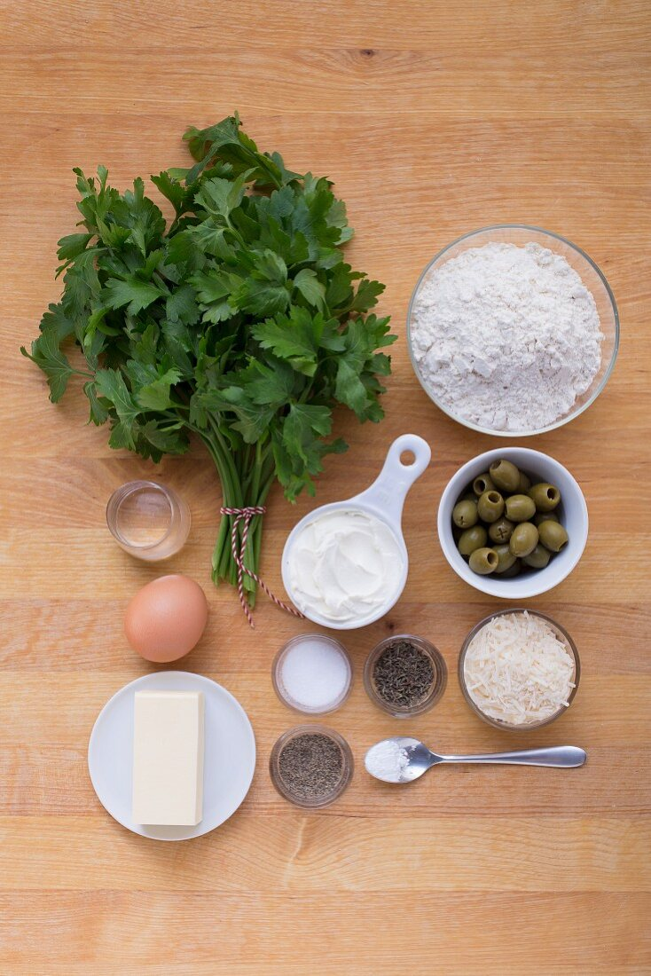 Ingredients for Parmesan wheels filled with fresh cheese