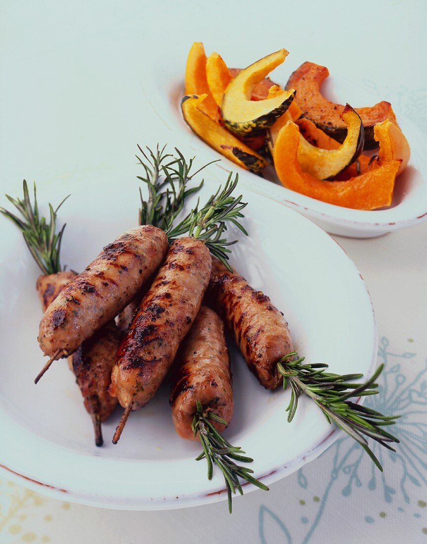 Rosemary sausages with oven roasted pumpkin slices