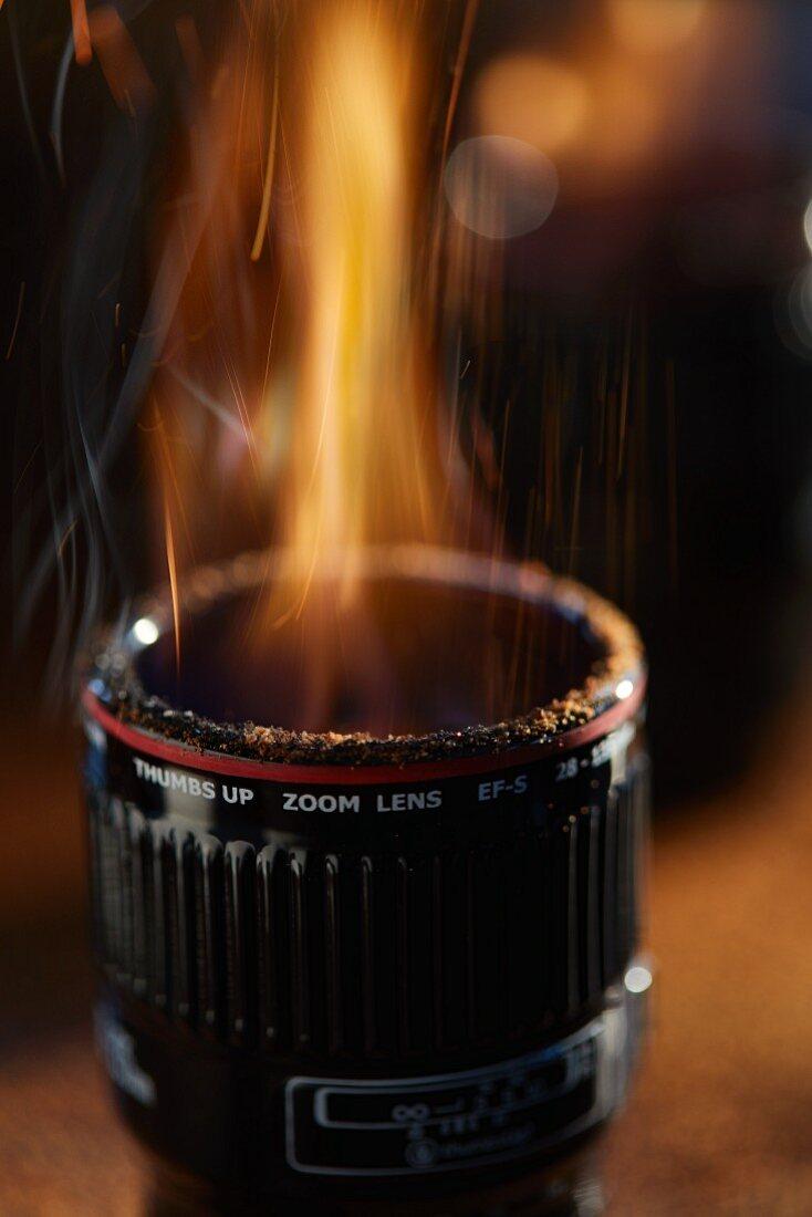A burning camera lens