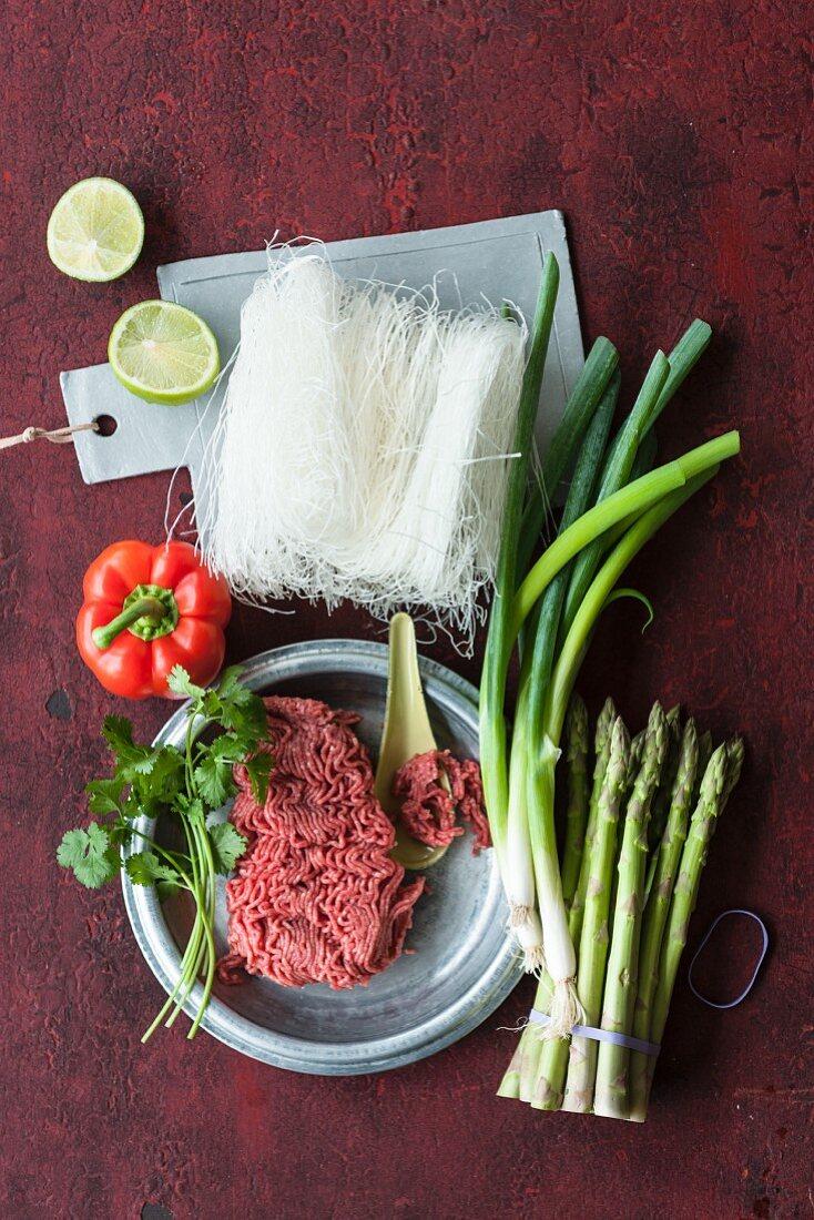 Ingredients for glass noodle salad