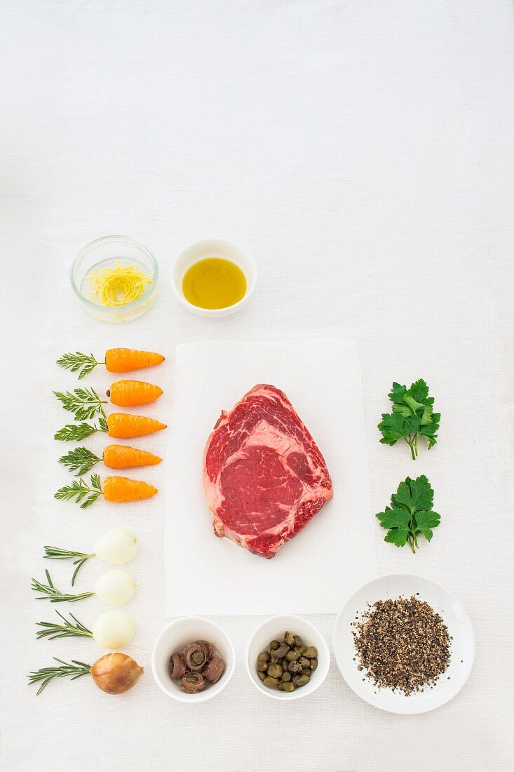 Ingredients for the preparation of wagyu steak