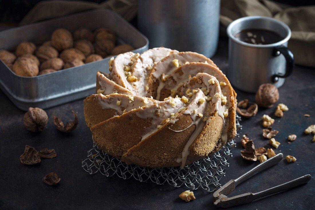 Vegan walnut ring-shaped 'Gugelhupf' cake