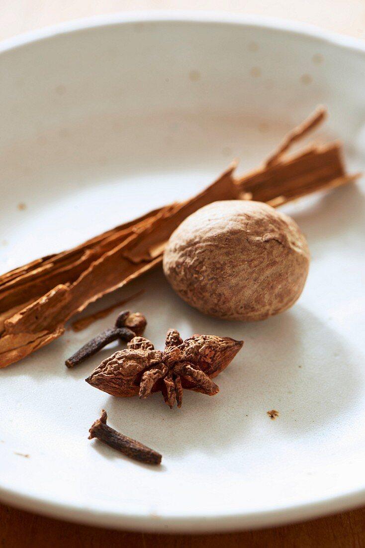 Nutmeg, star anise, cloves and a cinnamon stick