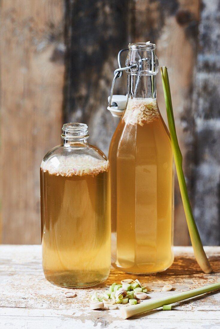 Homemade Kombucha tea with lemongrass in bottles