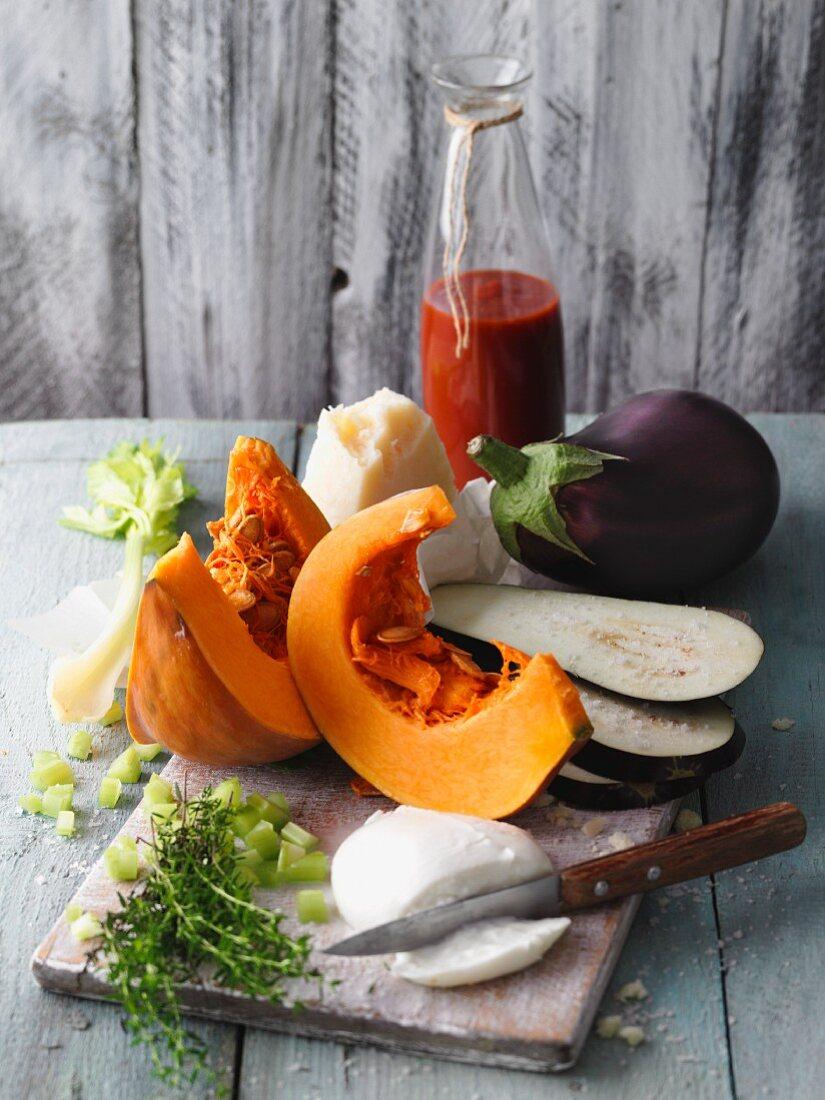 Ingredients for vegetarian pumpkin and aubergine lasagne