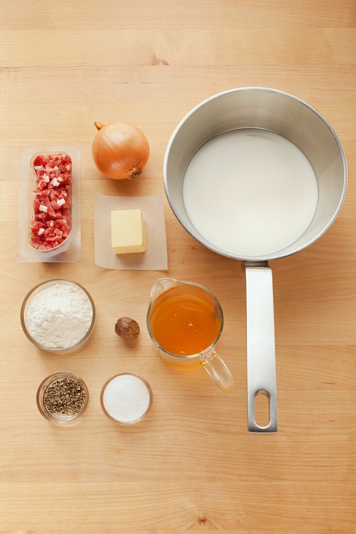 Ingredients for bechamel sauce