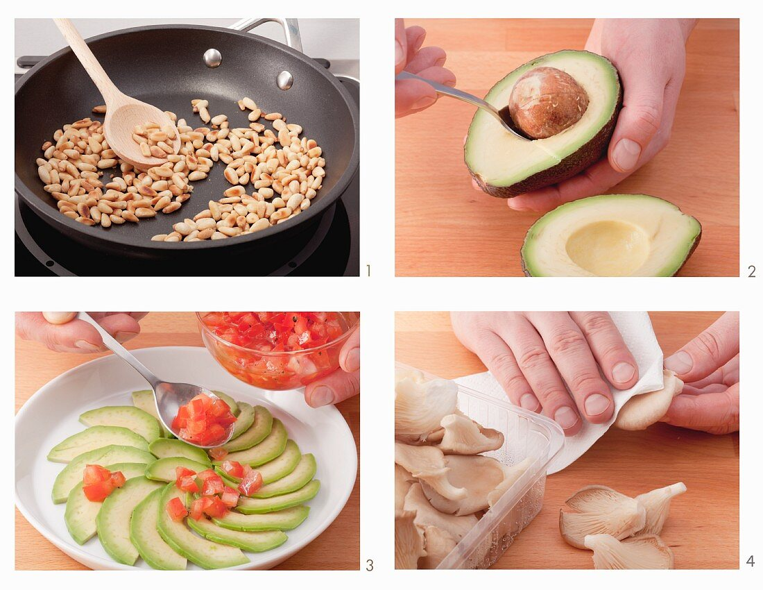 How to make oyster mushrooms and avocado carpaccio with pine nuts