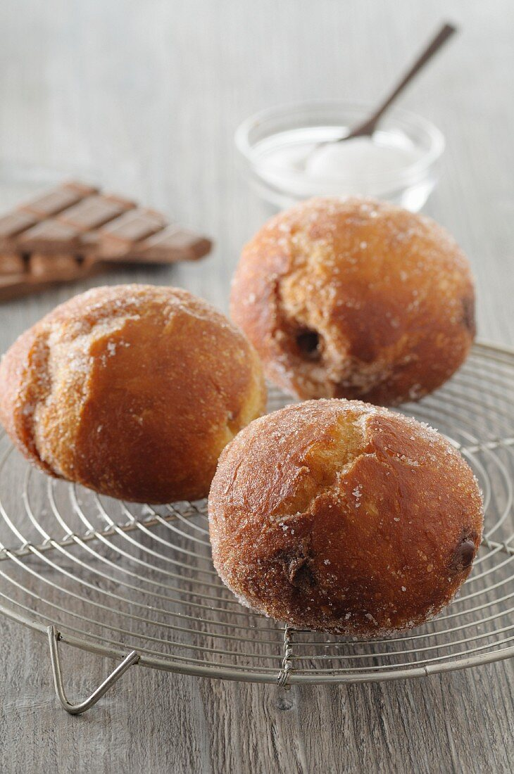 Doughnuts filled with chocolate
