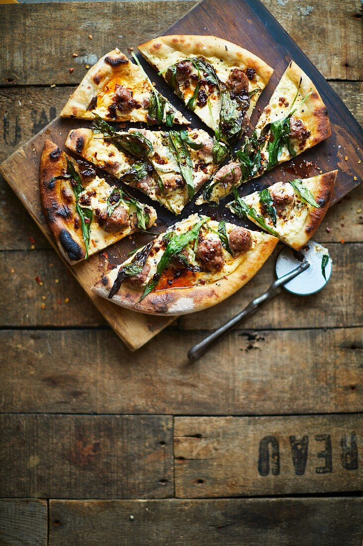 Wild garlic white pizza with sausage