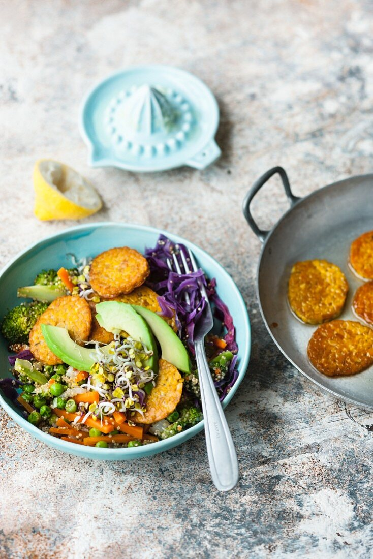 A Buddha bowl with quinoa and lupin tempeh