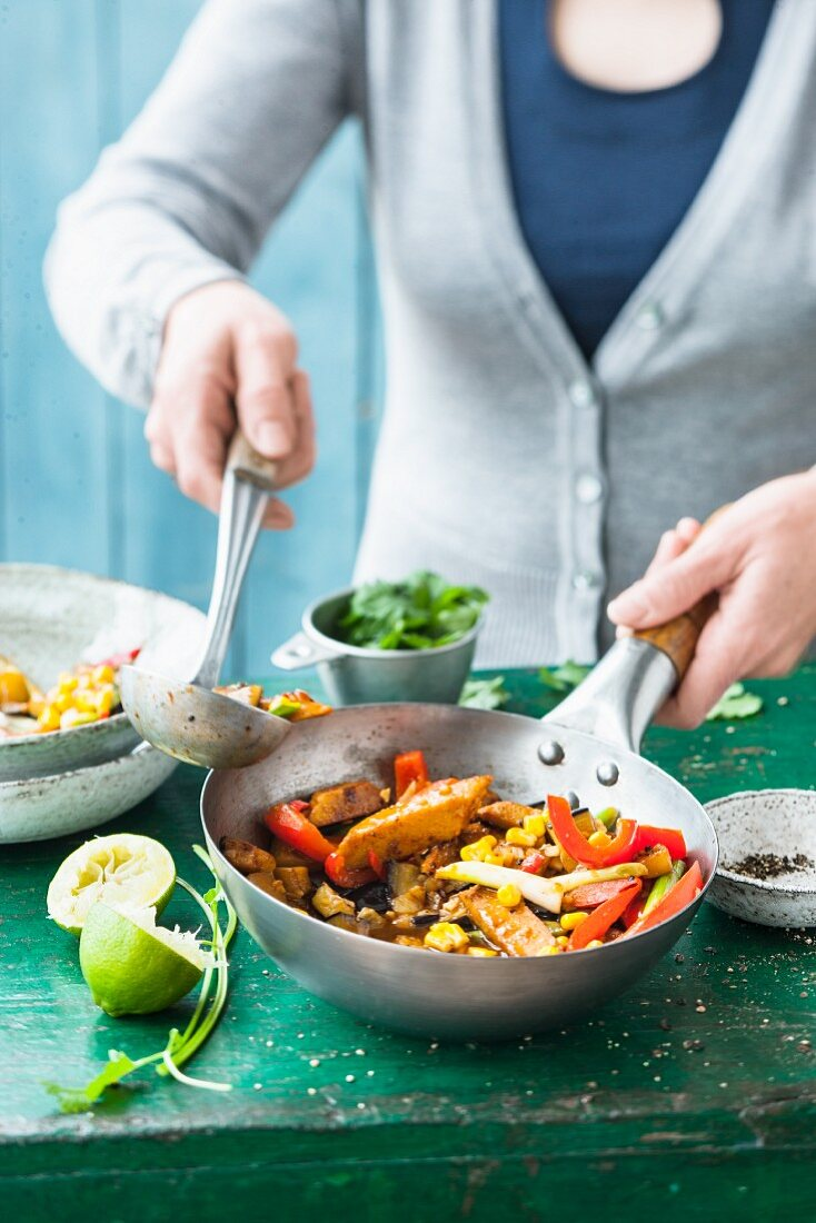 Stir-fried vegetables with lupin fillets and coriander
