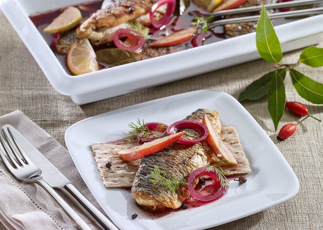 Fried herring in a rosehip marinade