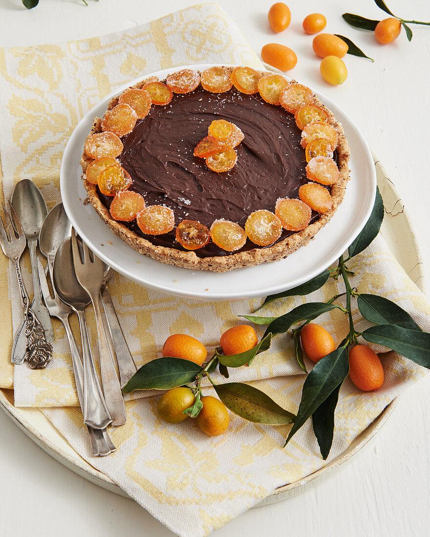 Chocolate tart with candied kumquats