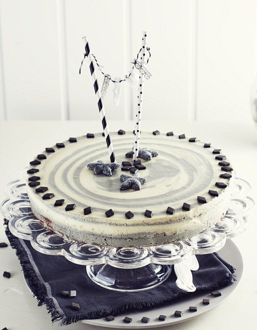 Zebra cake with liquorice