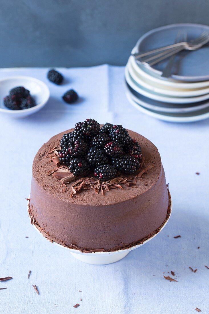 Chocolate and blackberry cake