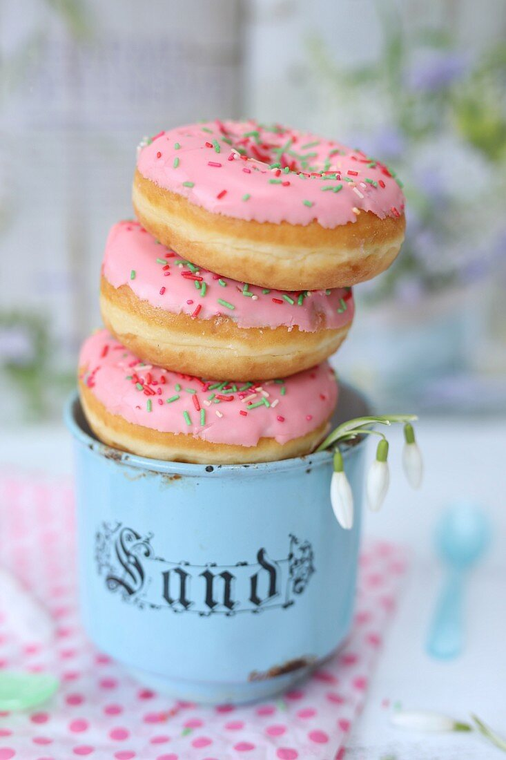 Doughnuts in a vintage mug