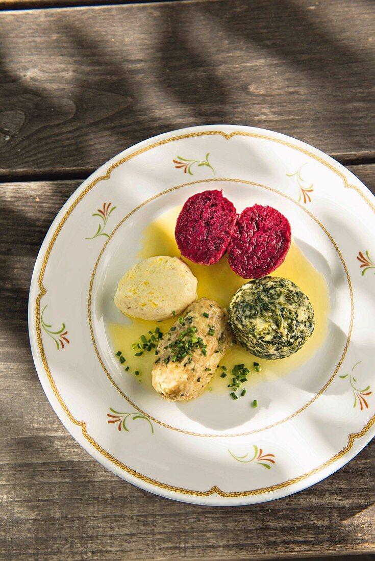 Dumplings served at Patscheider Hof in Bolzano, South Tyrol, Italy