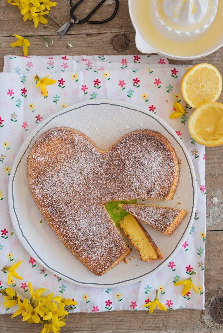 Heart shaped Moelleux au Citron (lemon cake, France)