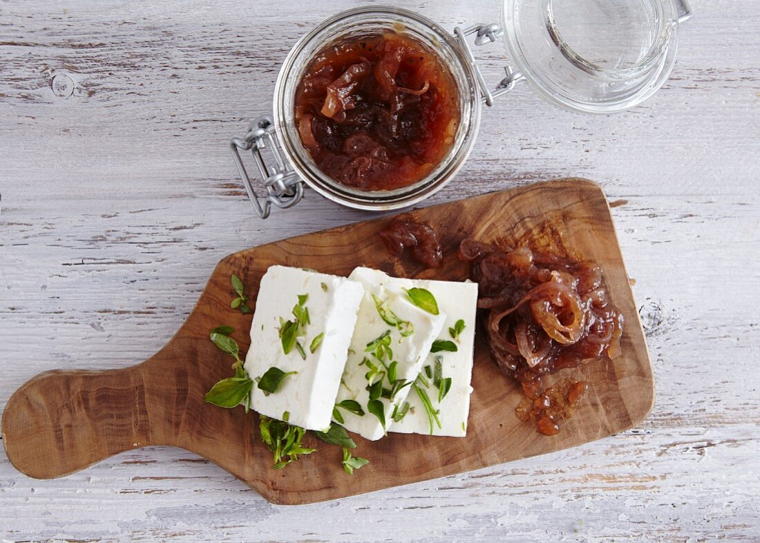 Shallot and port confit served with feta