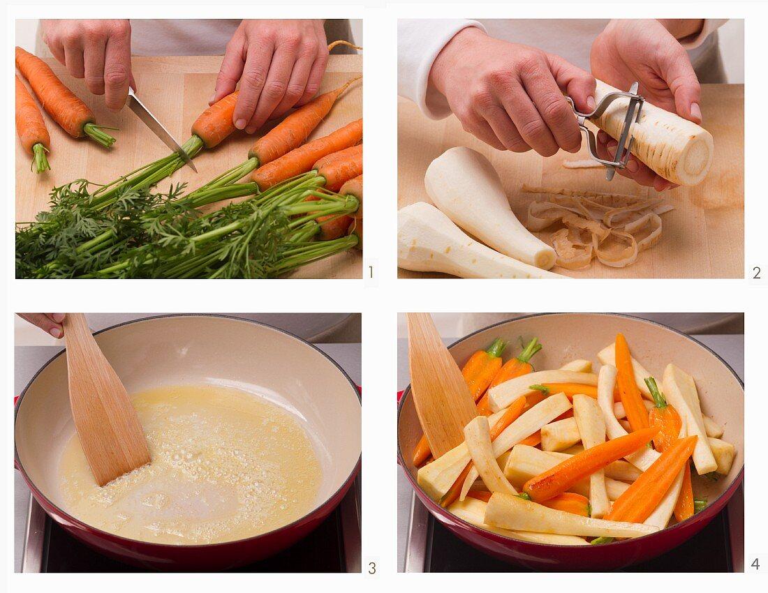 Root vegetables being prepared