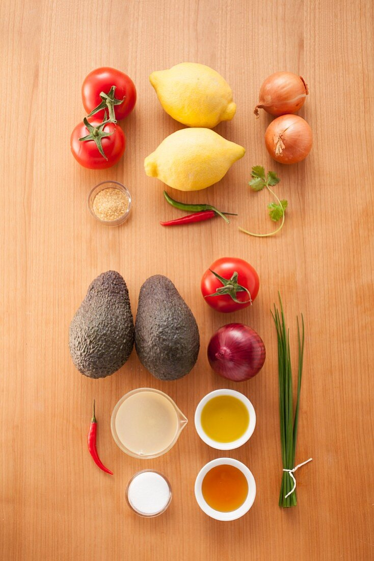Ingredients for tomato salsa and avocado salsa