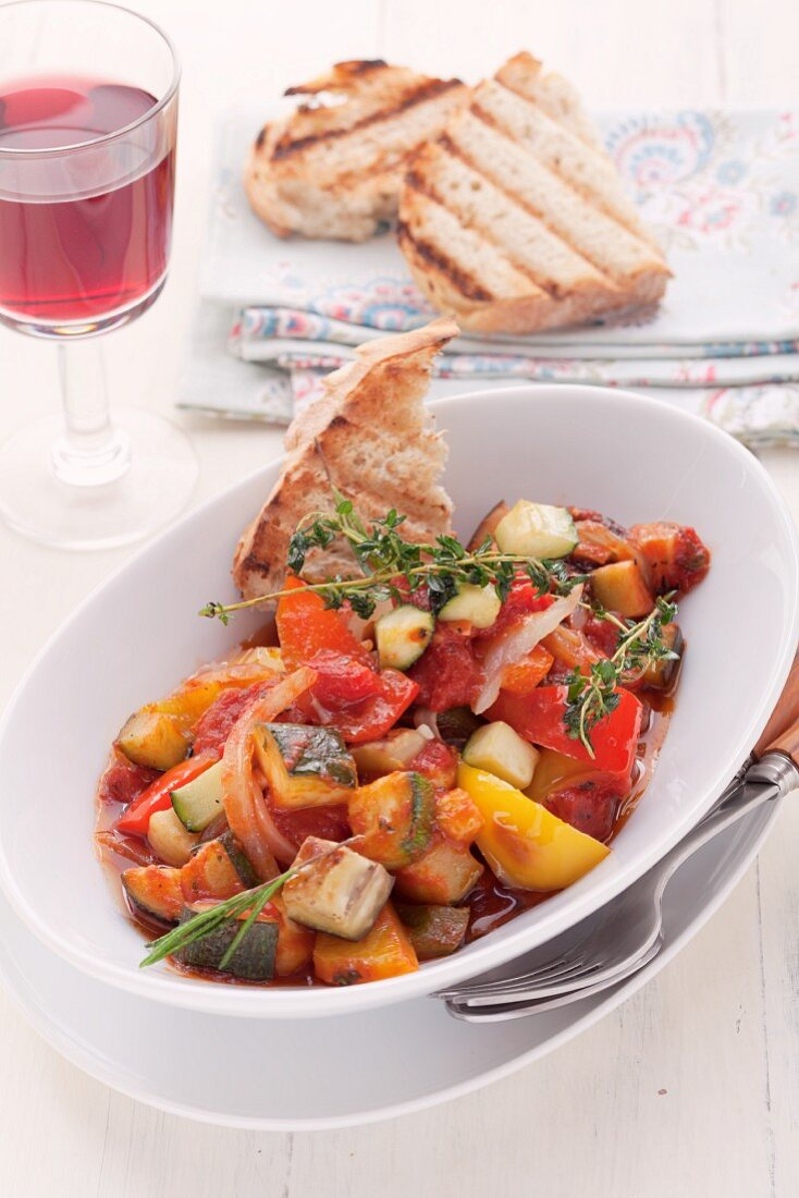 Ratatouille with toasted bread