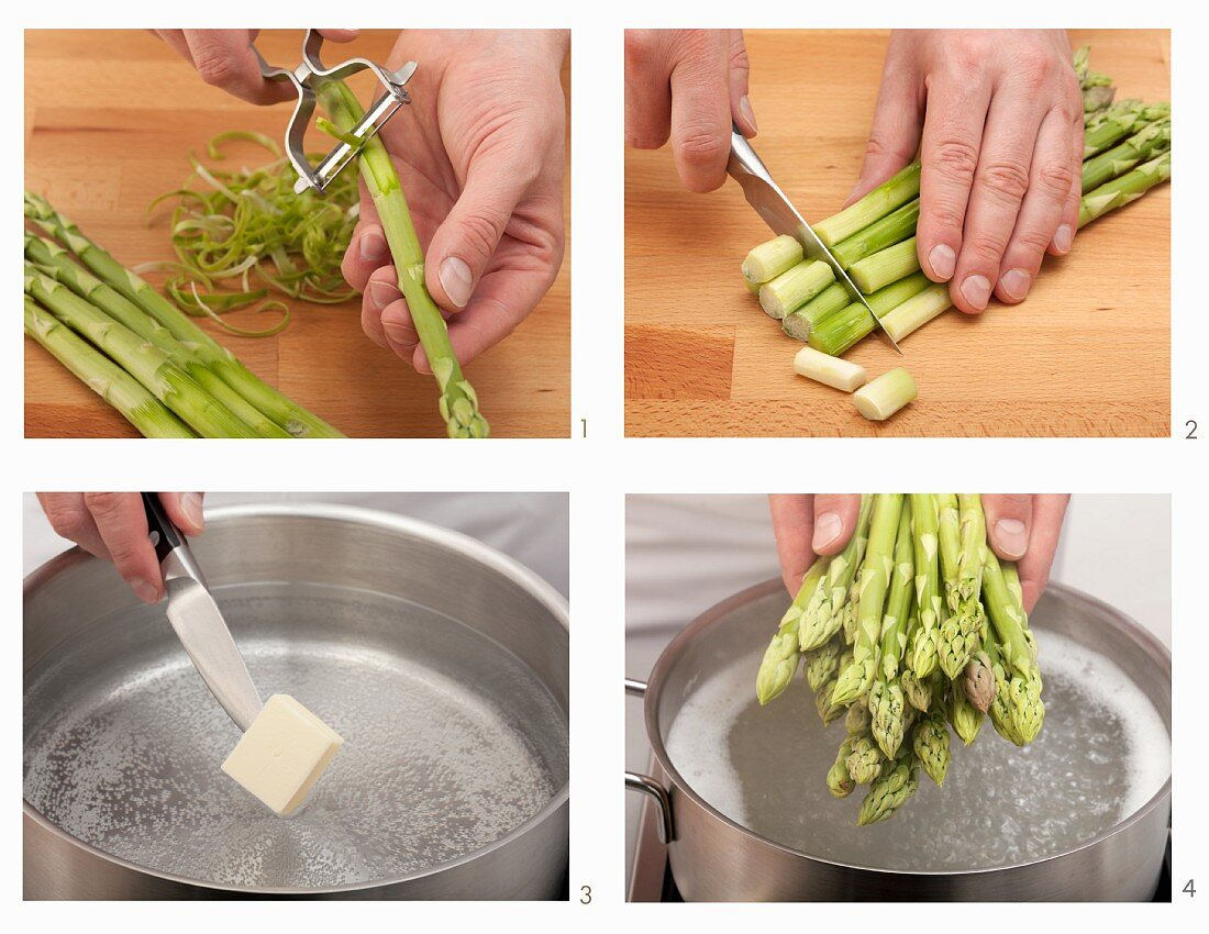 Green asparagus being boiled