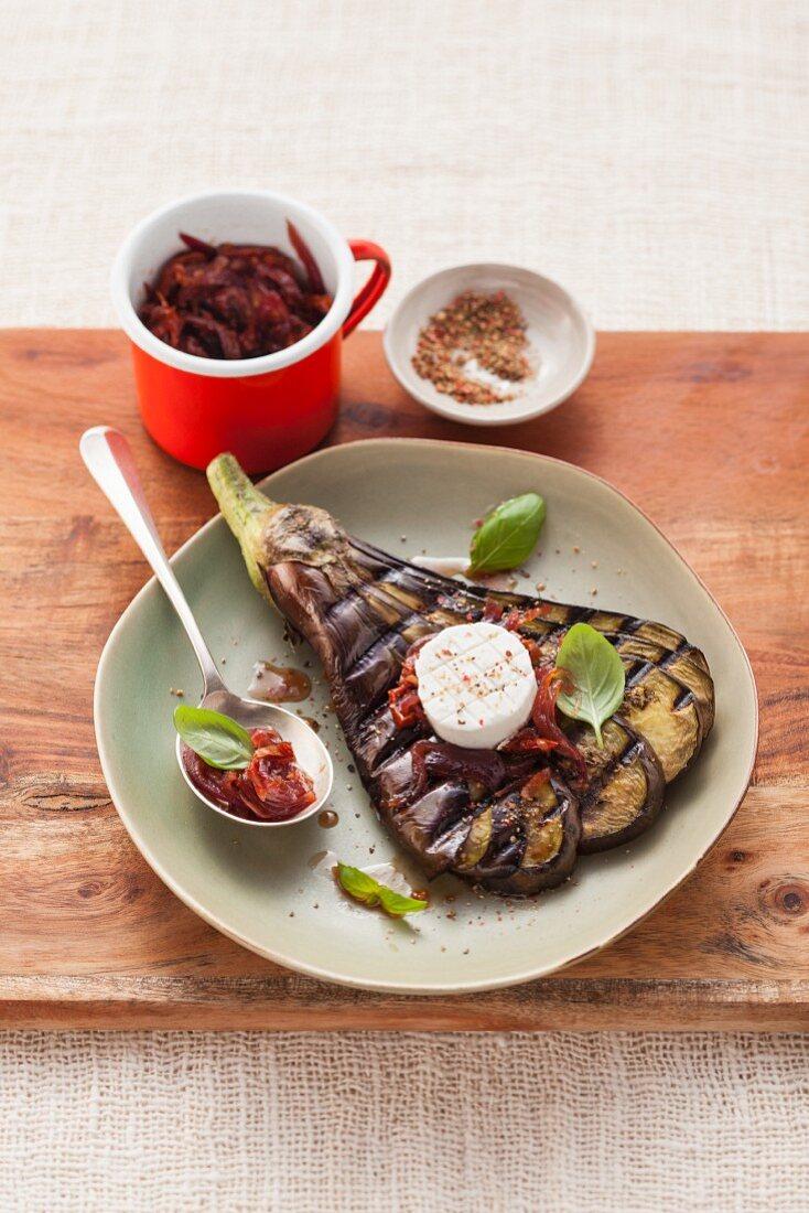 Grilled aubergine fans for vegetarians