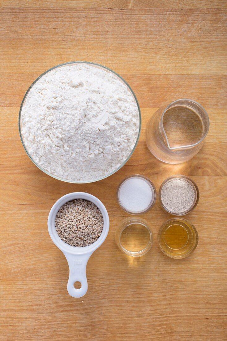 Ingredients for sesame rings