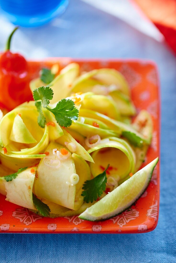 Salad with green mango, chilli and lime (Thailand)
