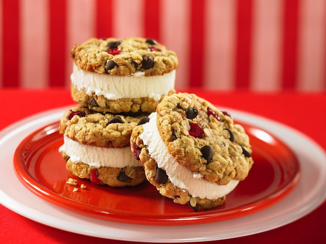 Ice cream sandwich with cereal, cranberry and chocolate chip cookies