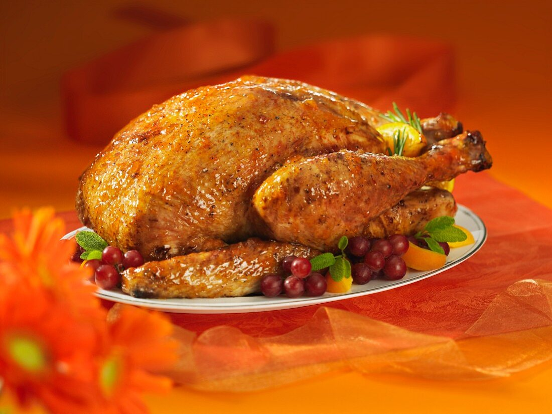 A stuffed roast turkey