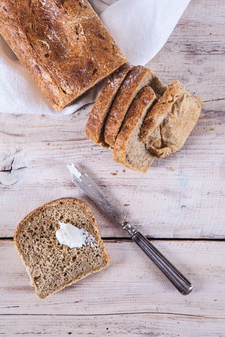 Zucchini and potato bread, sliced