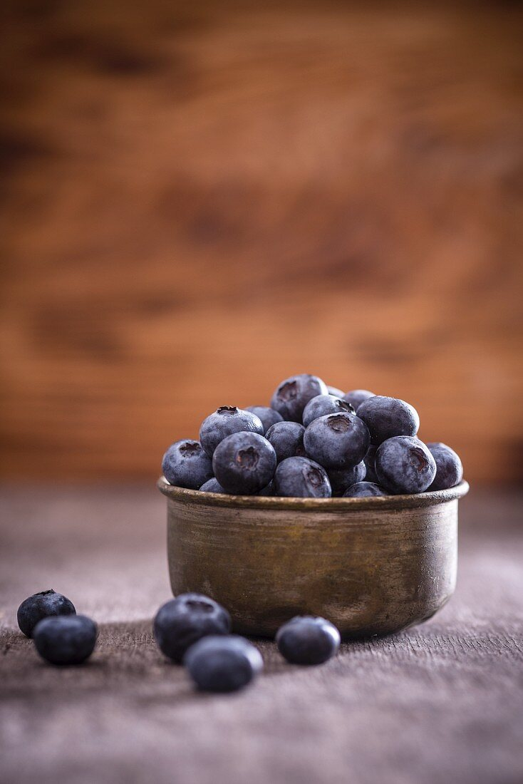 Blueberries in a metal bowl
