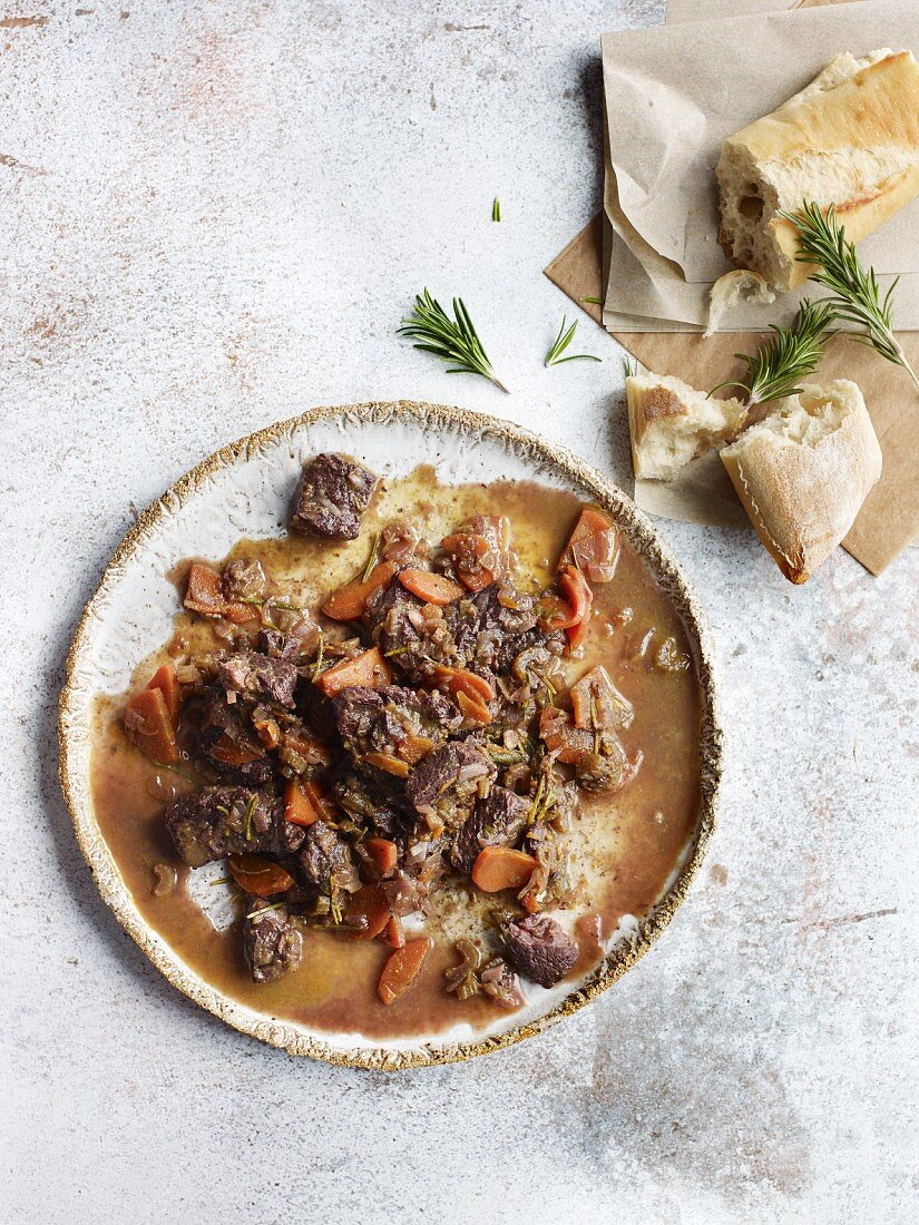 French beef ragout with orange and red wine