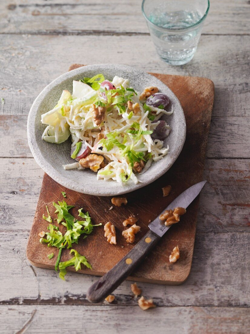 Celery and apple salad with grapes and walnuts (Sirtfood)