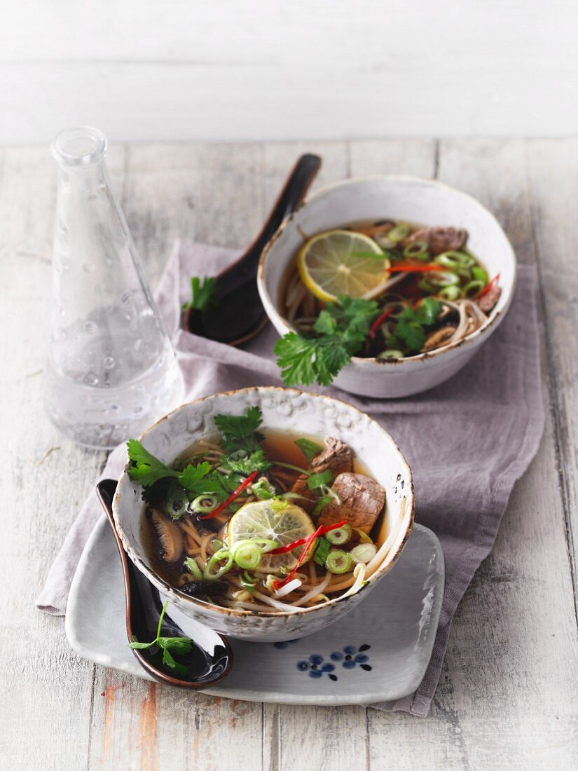 Sirtfood Pho Bo soup with beef and soba noodles (Vietnam)