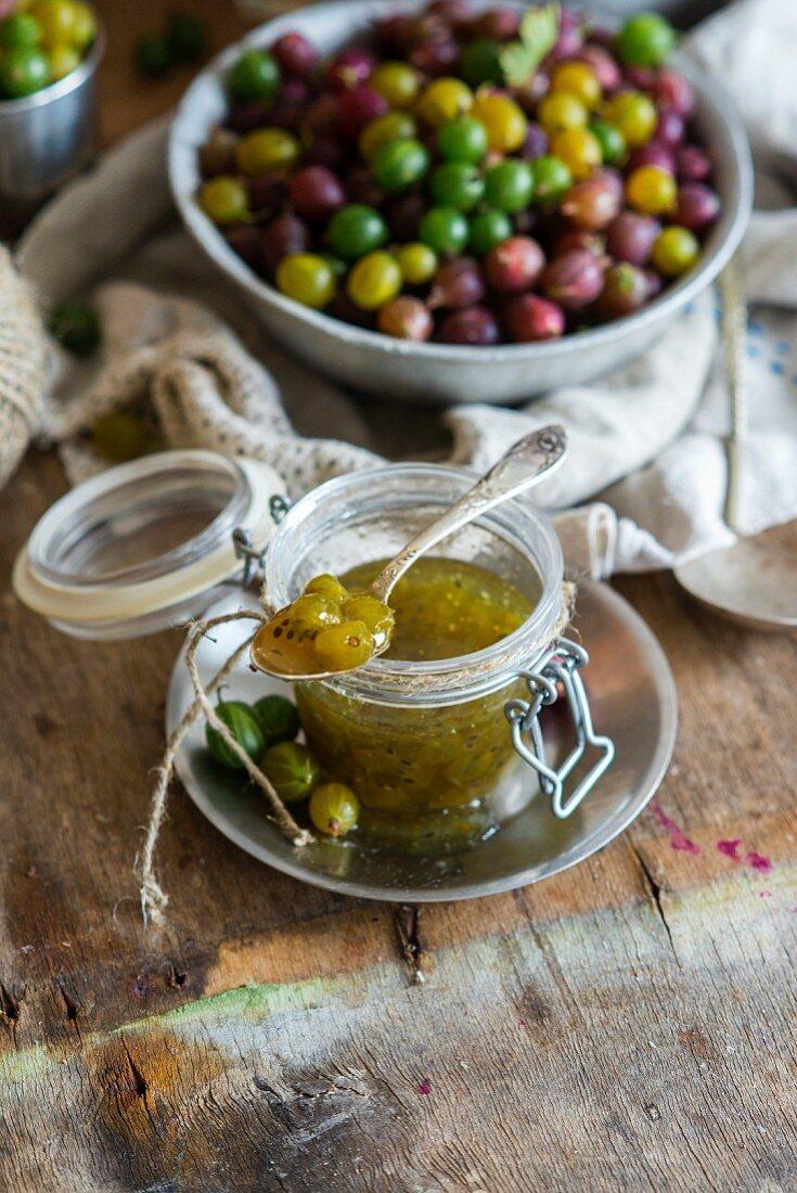 A jar of gooseberry jam