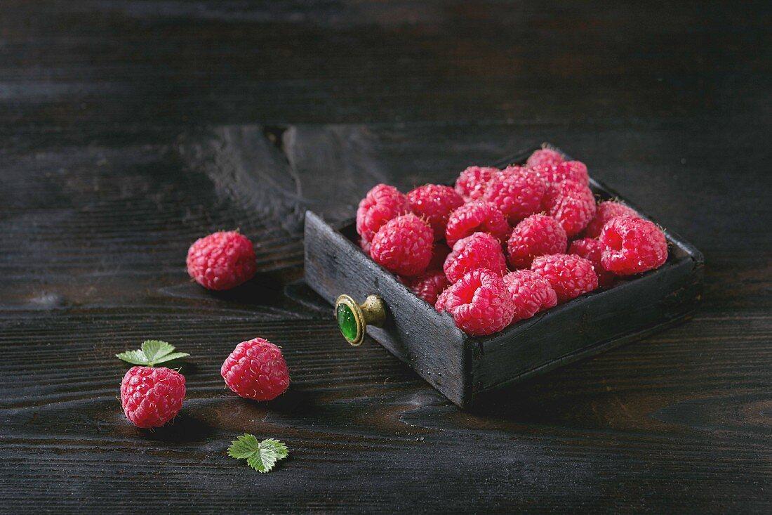 Fresh organic wet ripe raspberries in black wood box over wooden burnt background